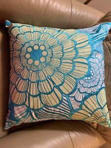 """Trina Turk Embroidered  Pillow Turq. Blue & White Floral DownFilled Feathers 19"""""""