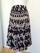 Women's Dries Van Noten Black & White Graphic Print Full Circle Skirt Size S/M.
