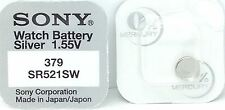 Sony 379 (SR521W) 1.55v Silver Oxide Mercury Free Watch Battery - Made in Japan