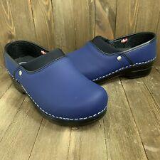 Sanita Stapled Professional Slip on Clog Loafer Blue Shoes Women's 37 EUR 6 US