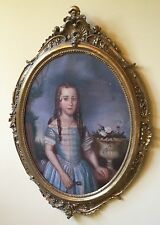 19th C. LARGE OVAL OIL ON CANVAS PAINTING IN ORNATE GOLD FRAME