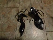 costume national black leather ankle laced heels shoes size 38 1/2 8 1/2
