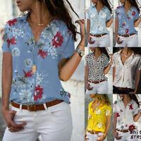 Plus Size Women Ladies Short Sleeve Loose T Shirt Top Summer Floral Blouse Tops