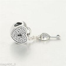 Pandora NUOVO ORIGINALE ARGENTO LUCCHETTO DELL' AMORE CHARM 791429cz (cuore lucchetto con chiave)