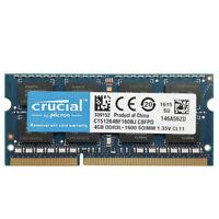 Crucial 4GB PC3L-12800 DDR3L-1600Mhz Sodimm 1.35V CL11 204Pin Laptop Memory Ram