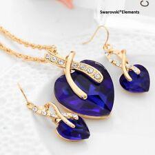 parure boucles collier pendentif coeur TITANIC Swarovski®Elements bleu doré