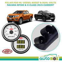 SAAS Pillar Pod w/ White Boost & Dual Volt Gauge for Navara NP300 D23 2015-on