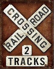 "Vintage Style Railroad Crossing 2 Tracks 16""x12"" Tin Sign MADE IN USA Train RR"