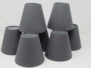 Small Candle Clip Tapered Chandelier Lampshade Textured 100% Linen Charcoal Grey