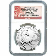 2014 1 oz British Silver Horse Coin NGC MS69 DPL