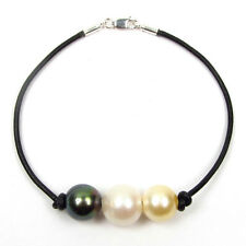 "7.5"" 10-12mm Authentic Tahitian & South Sea Pearl Genuine Leather Cord Bracelet"