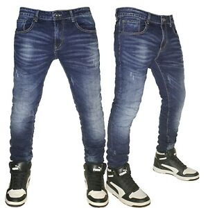 Jeans Uomo Denim slim fit elasticizzati Pantaloni 5 tasche blu nuovo 8501