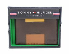 New Tommy Hilfiger Men's Brown Leather Double Bifold Credit Card ID Wallet