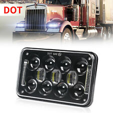 "DOT 4x6"" 60W H4 LED Headlight DRL Hi-Low Sealed Beam Black Projector Square Lamp"