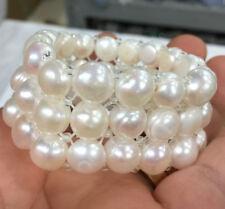 New 10mm 3 Rows elastic freshwater  pearl bracelet White AA+
