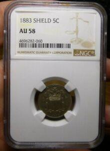 1883 Shield 5c NGC AU58 Shield Nickel