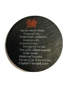 Single Welsh Slate WELSH DRAGON NATIONAL ANTHEM COASTER, Wales / Cymru