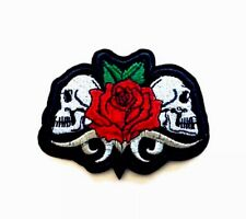 Skull Red Rose Biker Embroidered Patches Iron On Appliqué