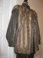 Oppsum fur jacket/coat with leather sleeves and trim size L-XL