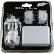 2.1A 4 Port  USB Home / Travel Wall Charger US/UK/ EU/AS AC power adapter White
