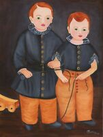 OrIgInAl FoLk ART OiL PaInTiNg TwO BoYs BrOThErS WaGoN WhIp PrImItIvE PoRtRAiT