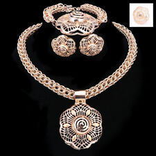 Gold Plated Round Flower Shape with Thick Box Chain 4 Pieces Jewelry Set