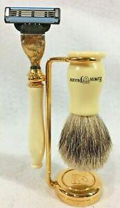 Edwin Jagger Imitation Ivory Shaving Set GOLD Cartridge Razor Badger Brush Stand