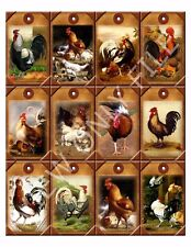 12 Primitive Country Roosters Hang Tags Scrapbooking Paper Crafts (288)