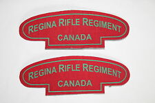 CANADA CANADIAN WW2 STYLE PRINTED SHOULDER TITLE PAIR REGINA RIFLE REGIMENT