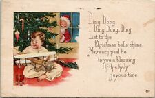 Postcard Santa Peeking Through Window Child with Toy Airplane, Train 1923 L12