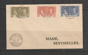 Seychelles FDC 1937 Coronation Plain, BAY ST ANNE PRASLIN cds, Imprint address
