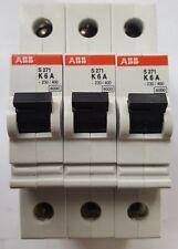 LOT OF 3 ABB S 271 K6A SINGLE POLE MCB (R3S8.5B2)