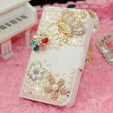 White Gold Crown & Flower Diamond Love Leather Wallet Case Cover For iPhone 5C