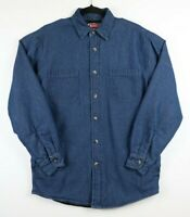 Wrangler Mens Small Quilted Lined Blue Denim Button Up Shirt Jacket