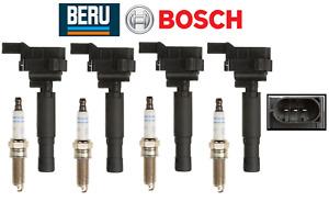 Ignition Coil + Spark Plug (4sets) OEM Beru Bosch Mercedes C250 SLK250 12-15