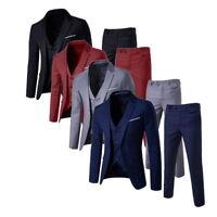 Mens Smart Fit 3 Pcs Suits Blazer Jacket Tux Vest Waistcoat Trousers Wedding T99