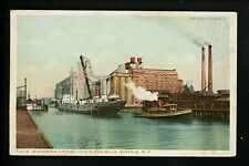 Buffalo, New York NY postcard Washburn Crosby Company Flour Mill Industry ship