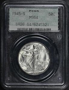 1945-S Walking Liberty Half Dollar PCGS MS-64 Old Doily Label Gasket Holder
