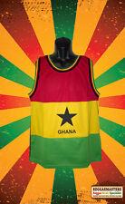 GHANA FLAG MOTIF RED GOLD GREEN VEST BASKETBALL TOP ROOTS & CULTURE LTD AMOUNT