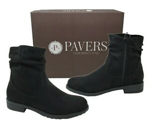 Womens Ladies Black Faux Suede PAVERS Ruched Faux Suede Zipped Pixie Boots Sizes