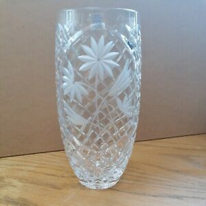 """Heavy Lead Crystal Cut Glass Vase 10x5"""" Hand Etched Flower Design Vgc"""