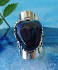 Ring Alpaka Silber Stein Achat dunkelgrau Ethno Indianer Stil 055