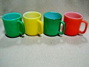 3 Vintage Glasbake Mugs & 1 Unmarked / Green / Yellow / Orange