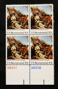 US Plate Blocks Stamps #1564 ~ 1975 BUNKER HILL 10c Plate Block of 4 MNH