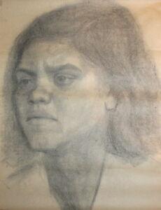 Antique pencil drawing portrait female