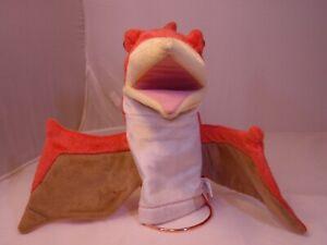 Aurora vintage Perodactlyl Hand Puppet Dinosaur Bird Toy Orange Move Beak