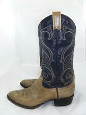 LARRY MAHAN 495 USED TAUPE MEN ?~9 LEATHER OSTRICH KNEE HIGH RIDING COWBOY BOOTS