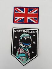 Space Explorer and GB Flag 2 pack Iron On Patch Sew on Transfer Badge