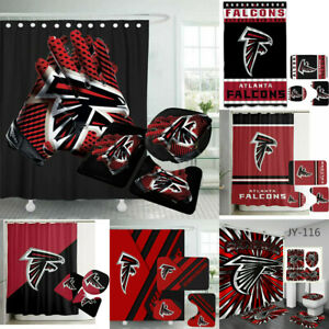 Atlanta Falcons Bathroom Rugs Mats Shower Curtain 4PCS Non-Slip Toilet Lid Cover