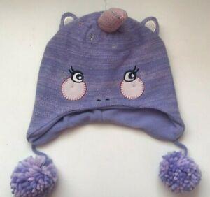 John Lewis & Partners Children's Unicorn Trapper Hat / Purple Size Medium New